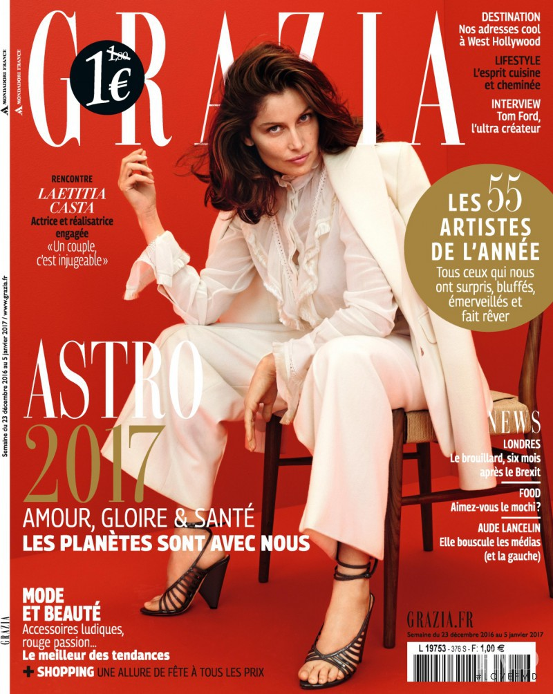 Laetitia Casta featured on the Grazia France cover from December 2016