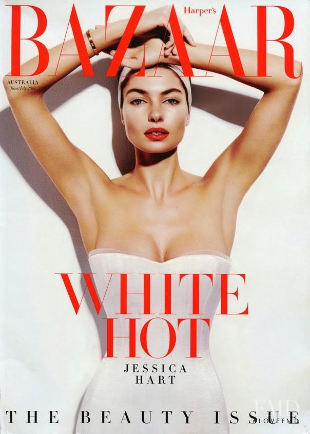 Jessica Hart featured on the Harper\'s Bazaar Australia cover from June 2014
