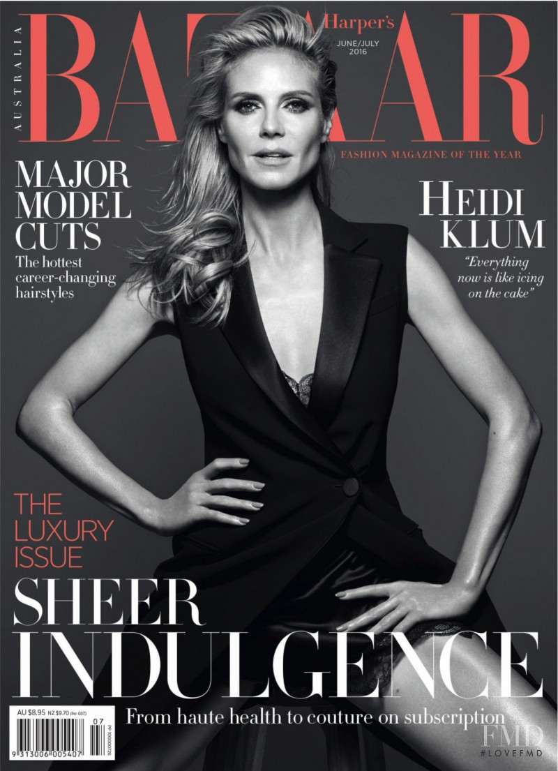 Heidi Klum featured on the Harper\'s Bazaar Australia cover from June 2016