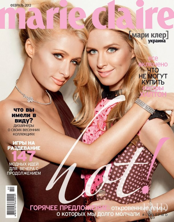 Paris Hilton, Nicky Hilton featured on the Marie Claire Ukraine cover from February 2013