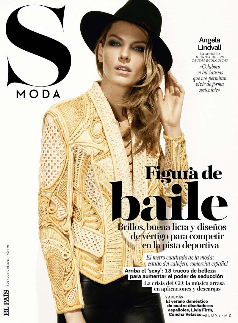 Angela Lindvall featured on the S Moda cover from August 2013