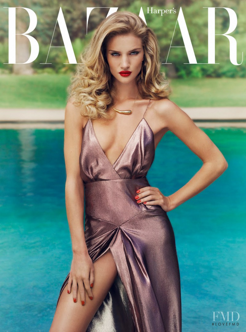 Rosie Huntington-Whiteley featured on the Harper\'s Bazaar UK cover from January 2012