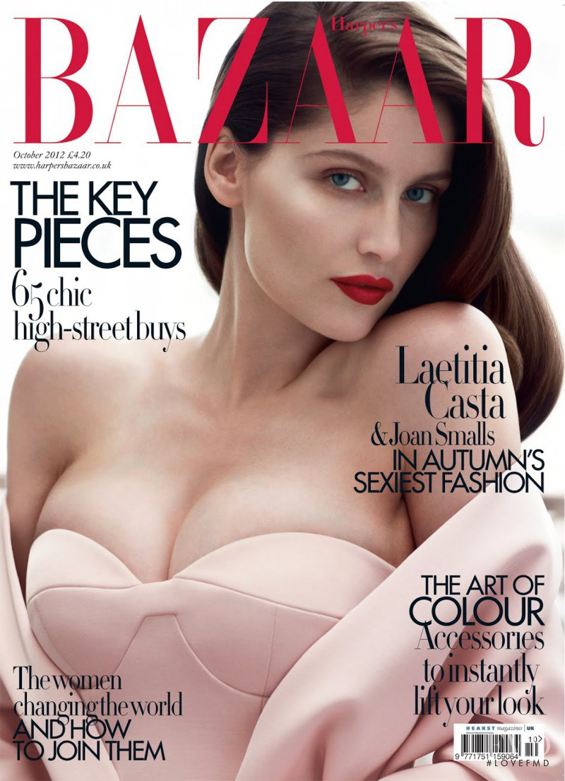 Laetitia Casta featured on the Harper\'s Bazaar UK cover from October 2012
