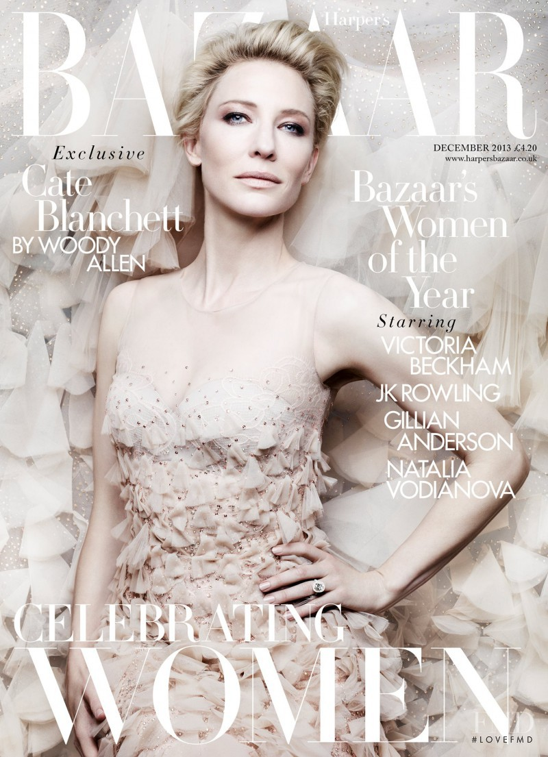 Cate Blanchett featured on the Harper\'s Bazaar UK cover from December 2013