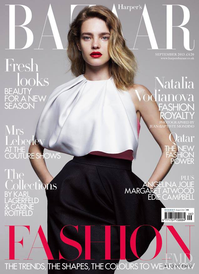 Natalia Vodianova featured on the Harper\'s Bazaar UK cover from September 2013
