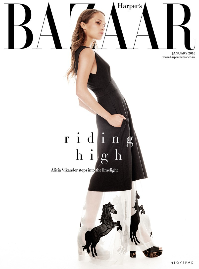 Alicia Vikander featured on the Harper\'s Bazaar UK cover from January 2016