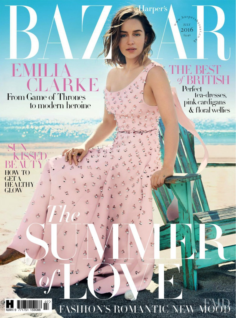 Emilia Clarke featured on the Harper\'s Bazaar UK cover from July 2016