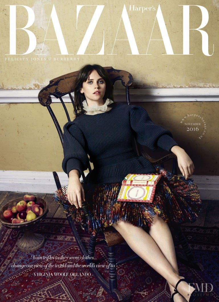 Felicity Jones featured on the Harper\'s Bazaar UK cover from November 2016