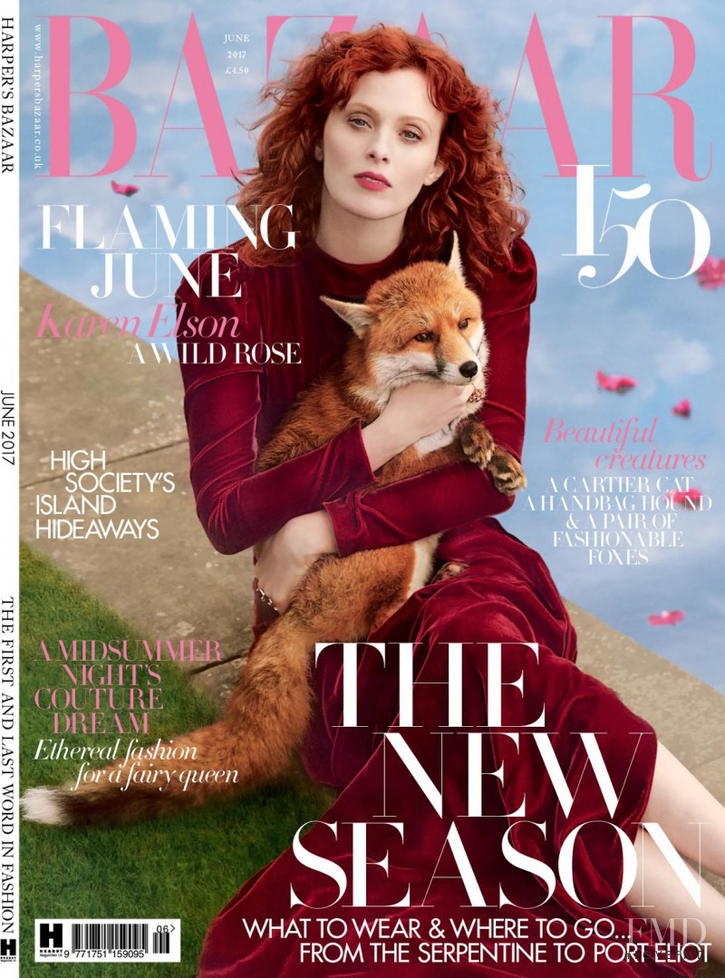 Karen Elson featured on the Harper\'s Bazaar UK cover from June 2017