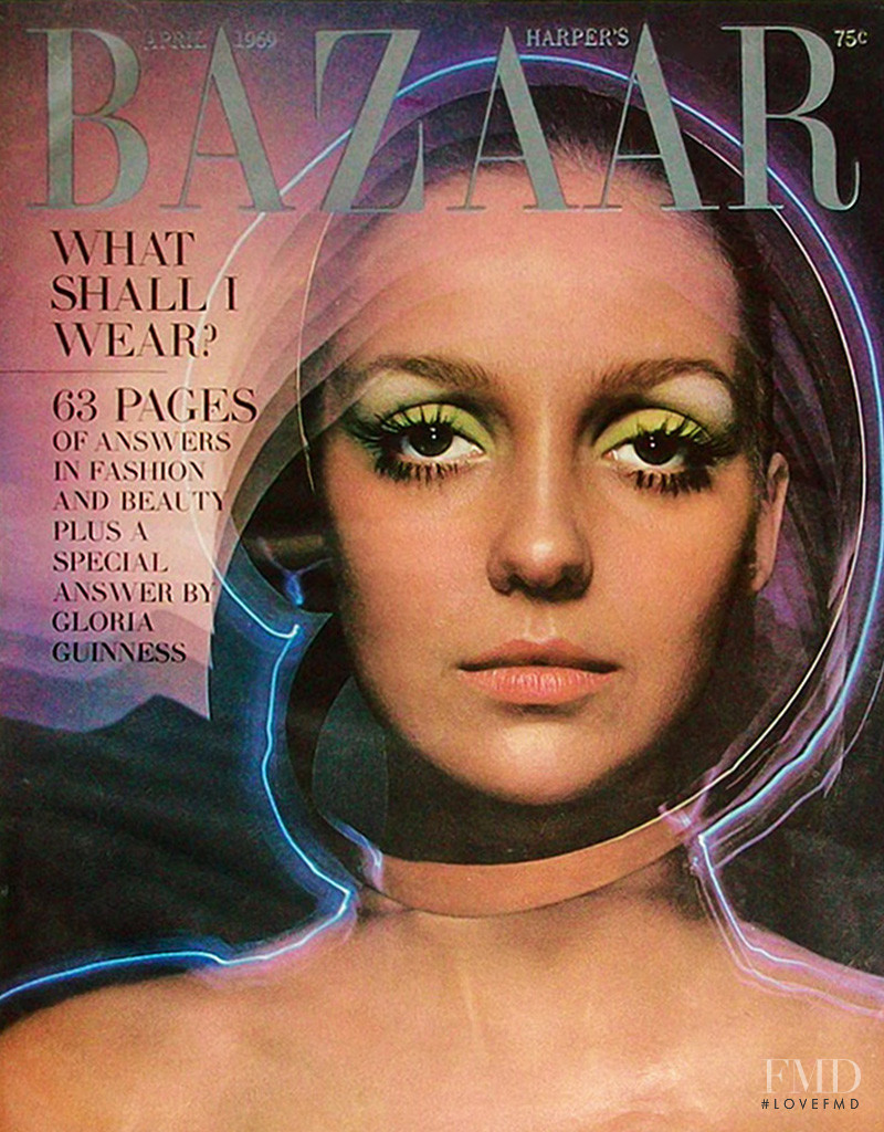 Donna Mitchell featured on the Harper\'s Bazaar USA cover from April 1969