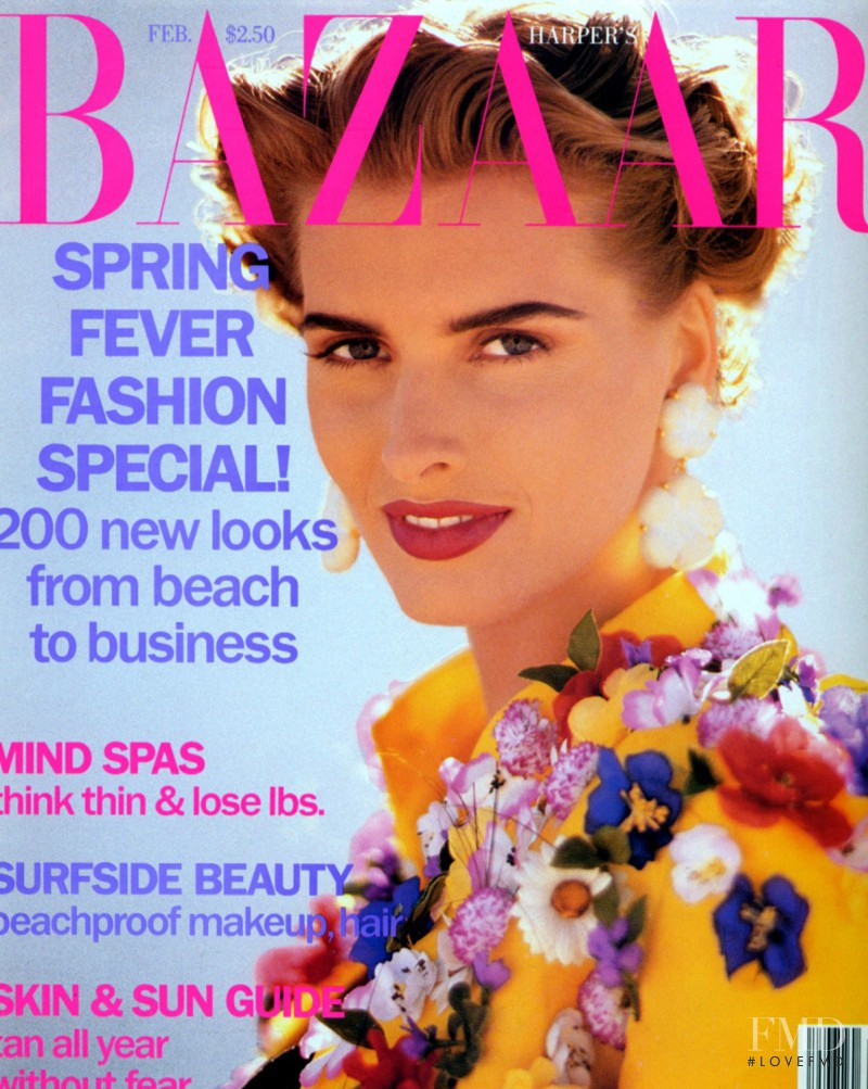 Cathy Fedoruk featured on the Harper\'s Bazaar USA cover from February 1992