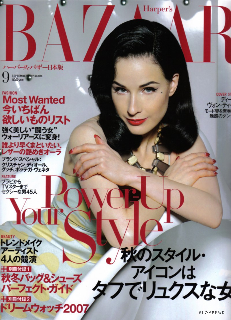 Dita Von Teese featured on the Harper\'s Bazaar Japan cover from September 2007