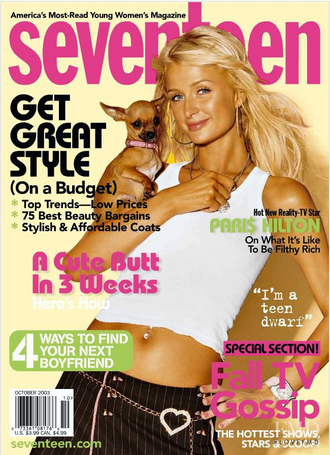 Paris Hilton featured on the Seventeen USA cover from October 2003