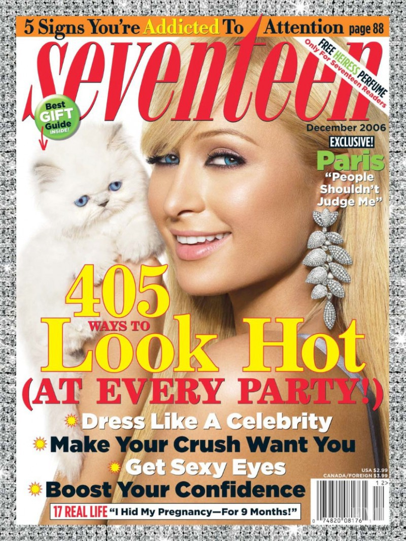 Paris Hilton featured on the Seventeen USA cover from December 2006
