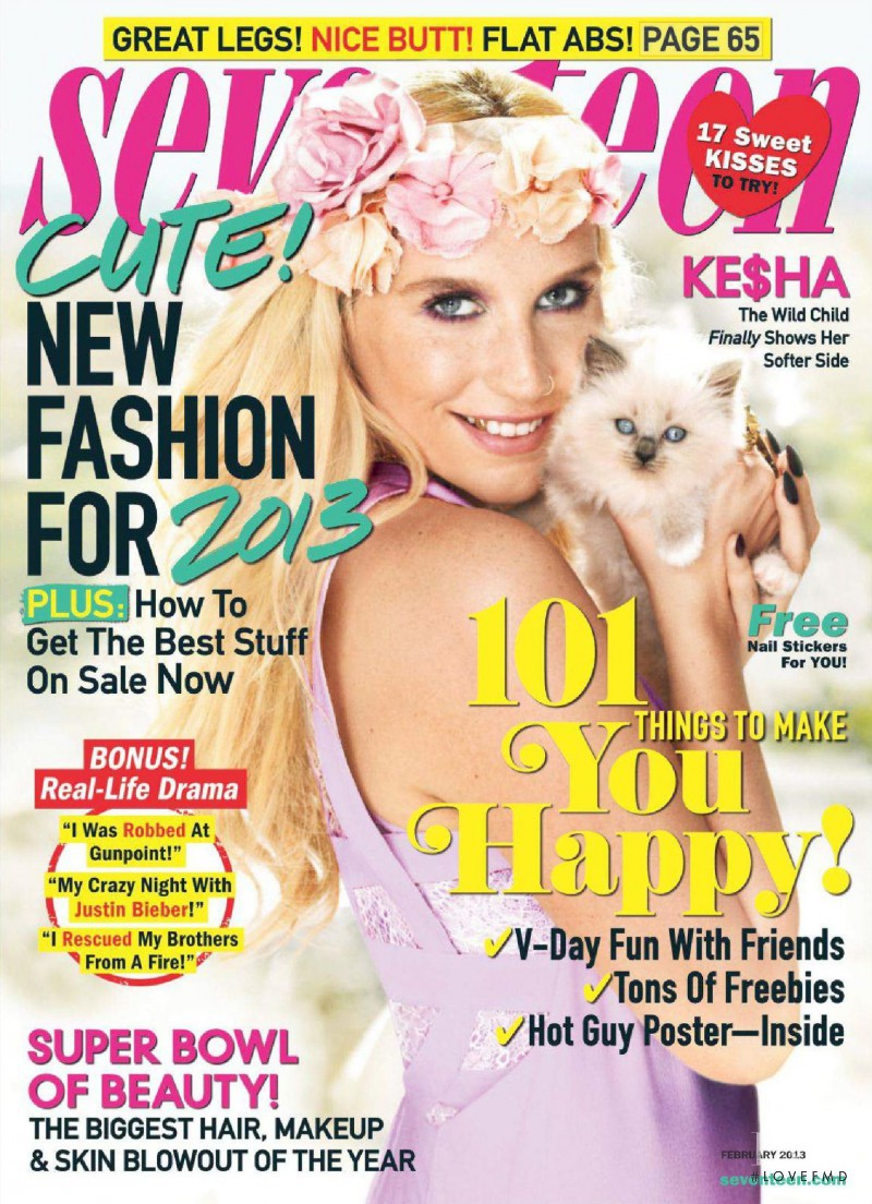 Kesha featured on the Seventeen USA cover from February 2013