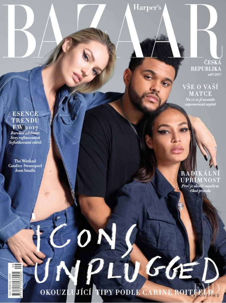 Candice Swanepoel, Joan Smalls featured on the Harper\'s Bazaar Czech cover from September 2017