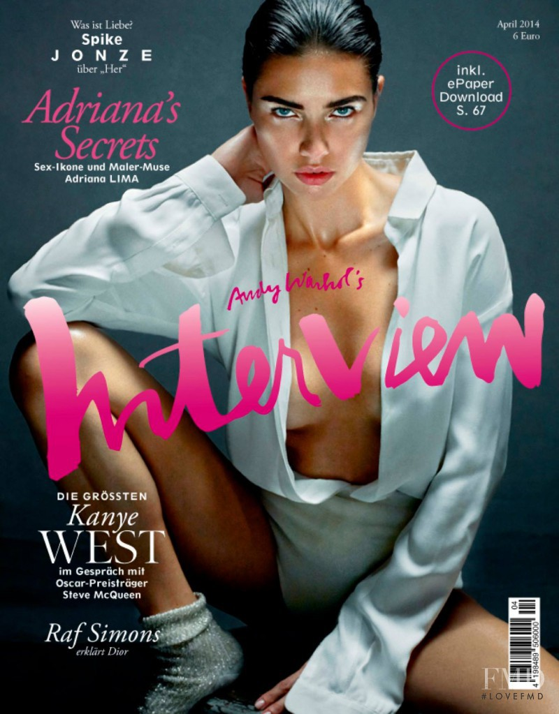 Adriana Lima featured on the Interview Germany cover from April 2014