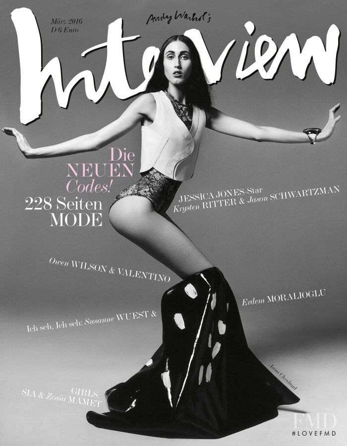Anna Cleveland featured on the Interview Germany cover from March 2016