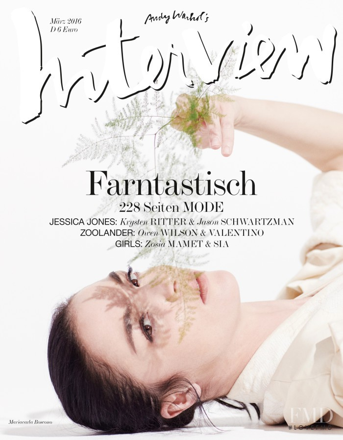 Mariacarla Boscono featured on the Interview Germany cover from March 2016