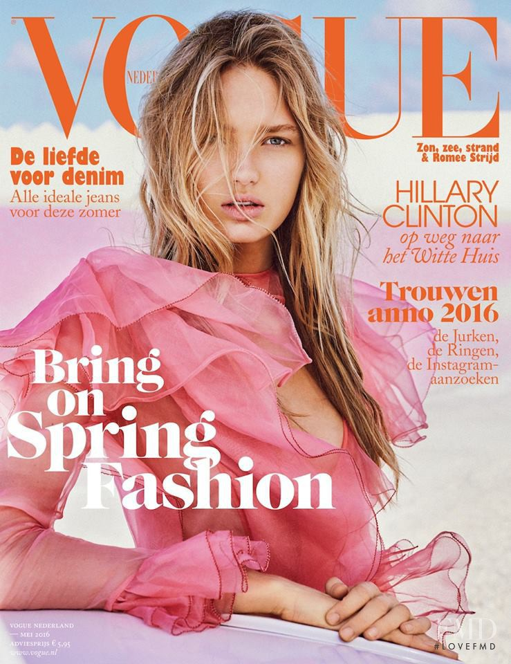 Romee Strijd featured on the Vogue Netherlands cover from May 2016