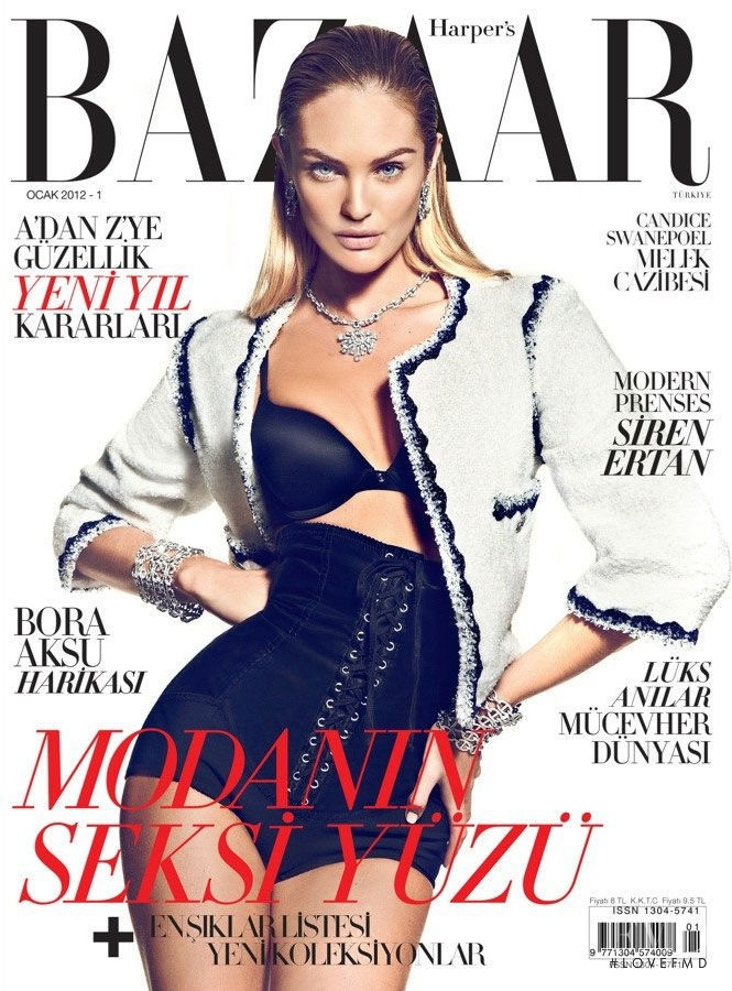 Candice Swanepoel featured on the Harper\'s Bazaar Turkey cover from January 2012