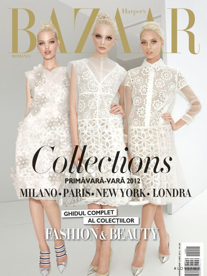 Chrystal Copland, Daphne Groeneveld, Vika Falileeva featured on the Harper\'s Bazaar Romania cover from March 2012