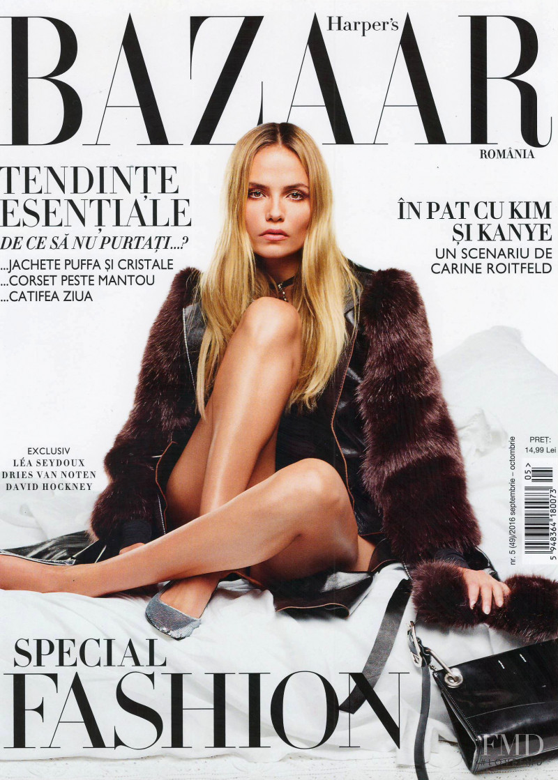 Natasha Poly featured on the Harper\'s Bazaar Romania cover from October 2016