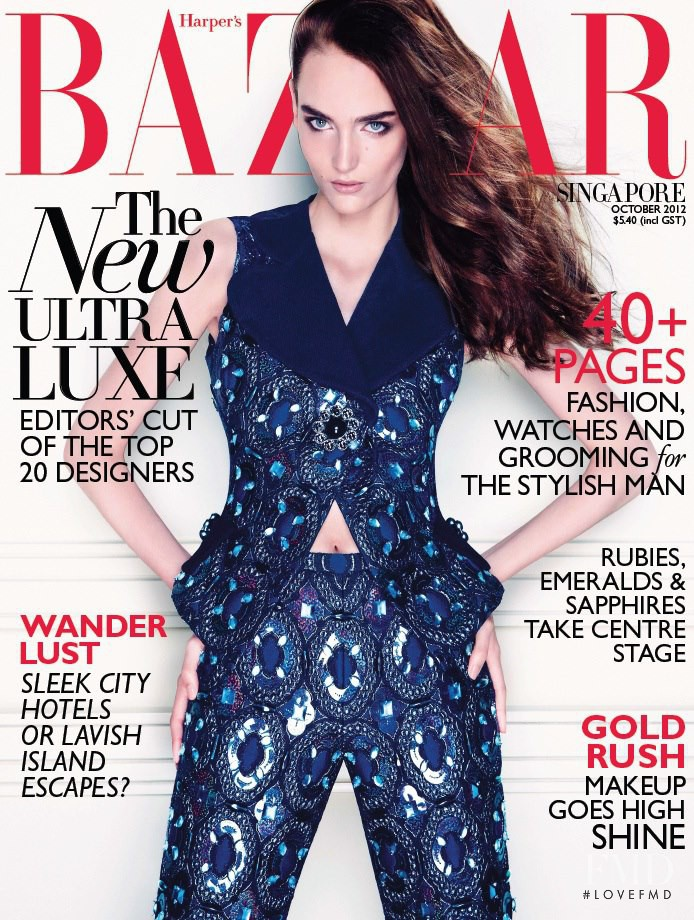 Zuzanna Bijoch featured on the Harper\'s Bazaar Singapore cover from October 2012