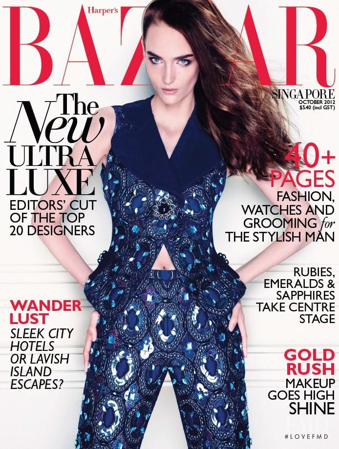 Zuzanna Bijoch featured on the Harper\'s Bazaar Singapore cover from October 2012