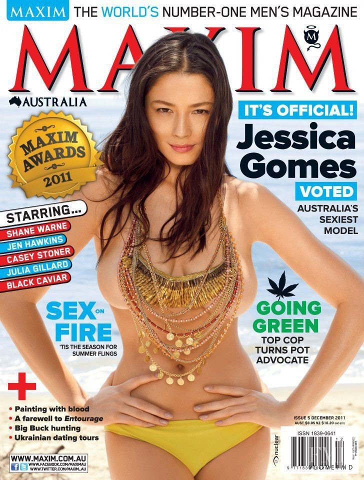 Jessica Gomes featured on the Maxim Australia cover from December 2011