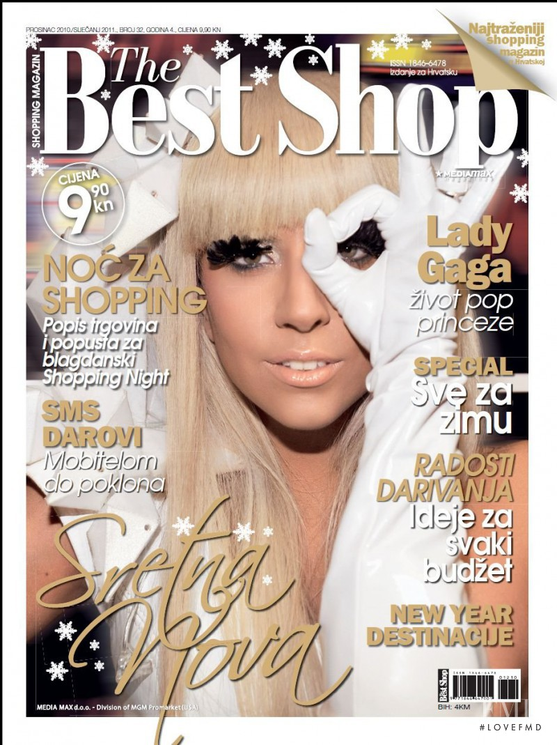 Lady Gaga featured on the The Best Shop Croatia cover from December 2010