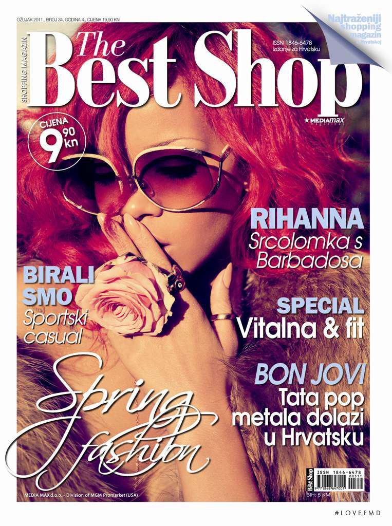 Rihanna featured on the The Best Shop Croatia cover from March 2011