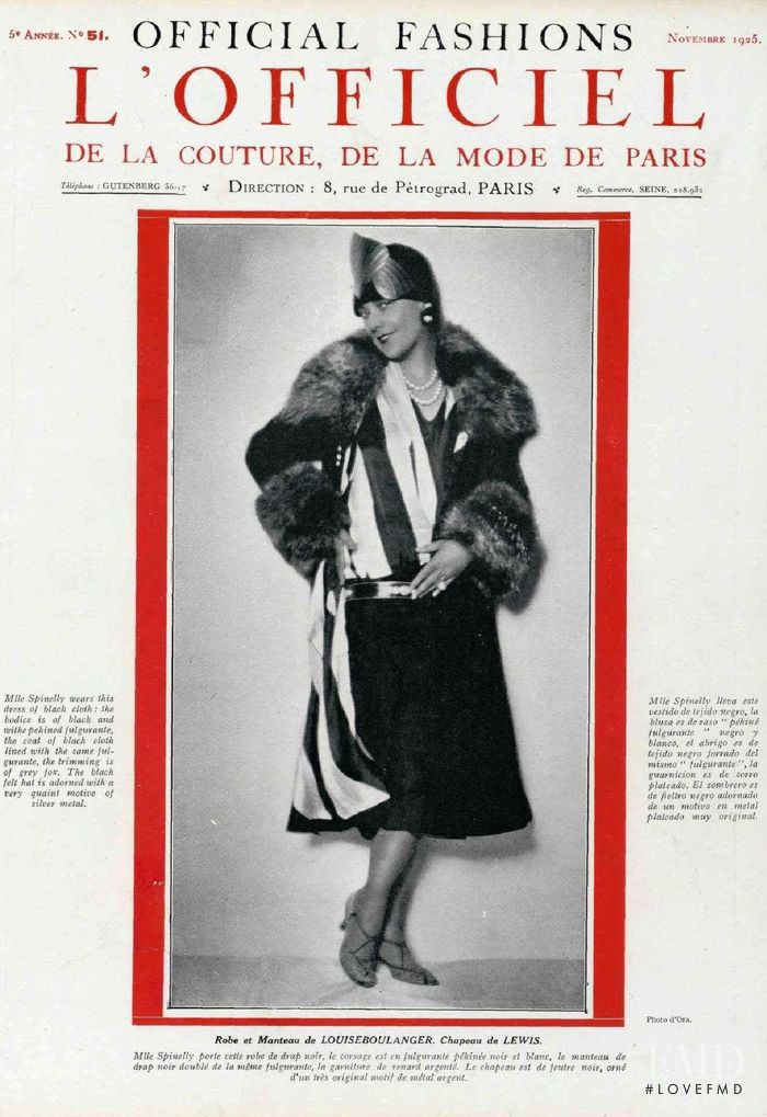 featured on the L\'Officiel France cover from November 1925