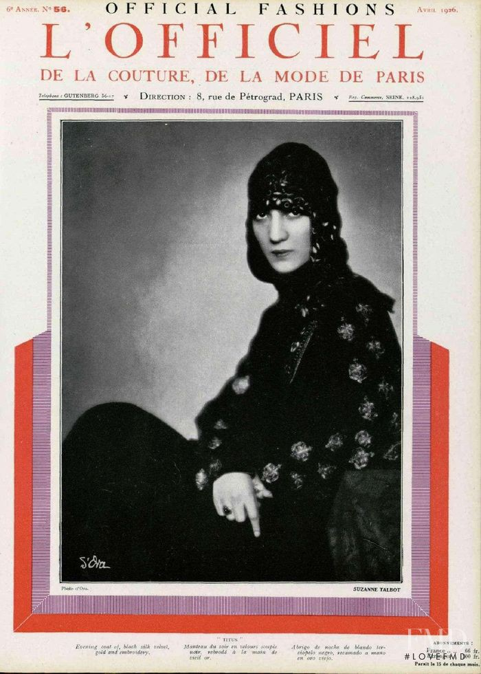 featured on the L\'Officiel France cover from April 1926