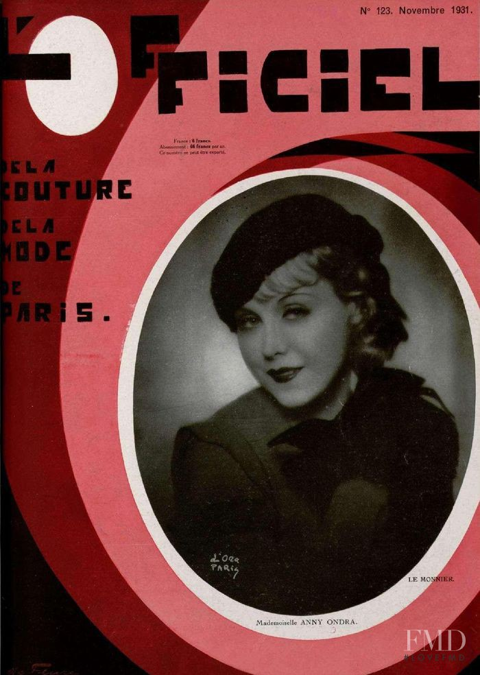 featured on the L\'Officiel France cover from November 1931