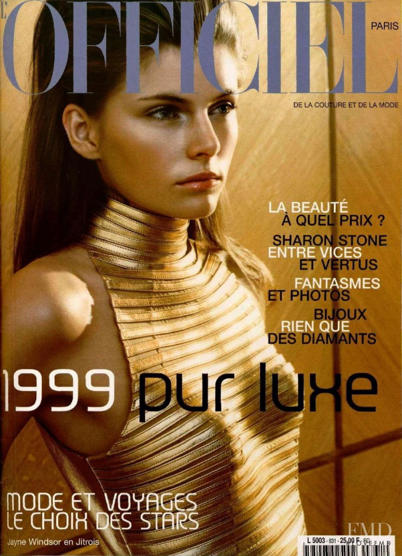 Jayne Windsor featured on the L\'Officiel France cover from December 1998