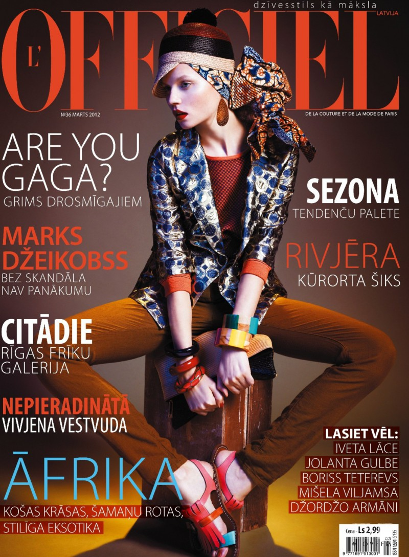 Egle Tvirbutaite featured on the L\'Officiel Latvia cover from March 2012