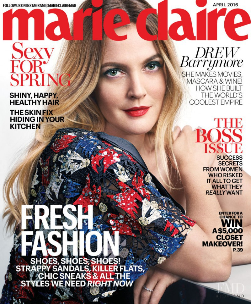 Cover of marie claire usa with drew barrymore april 2016 id 37372