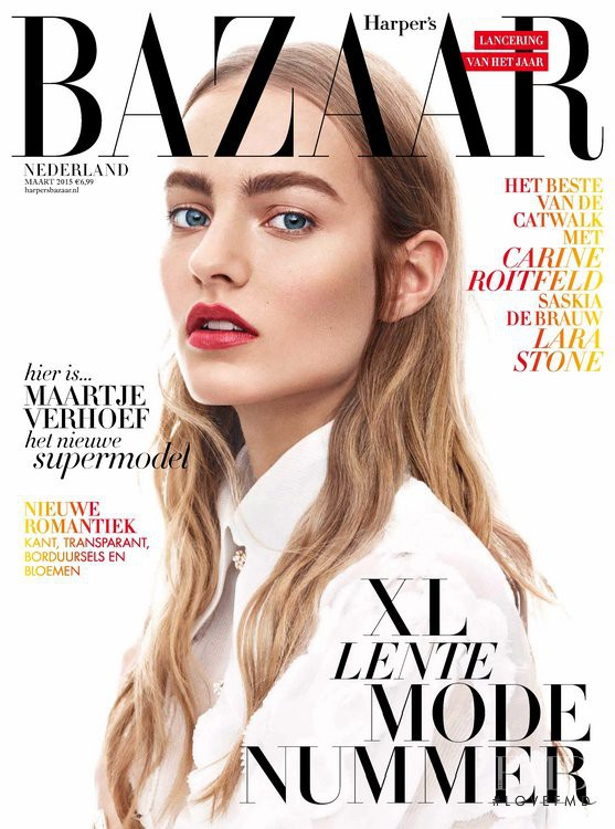 Maartje Verhoef featured on the Harper\'s Bazaar Netherlands cover from March 2015