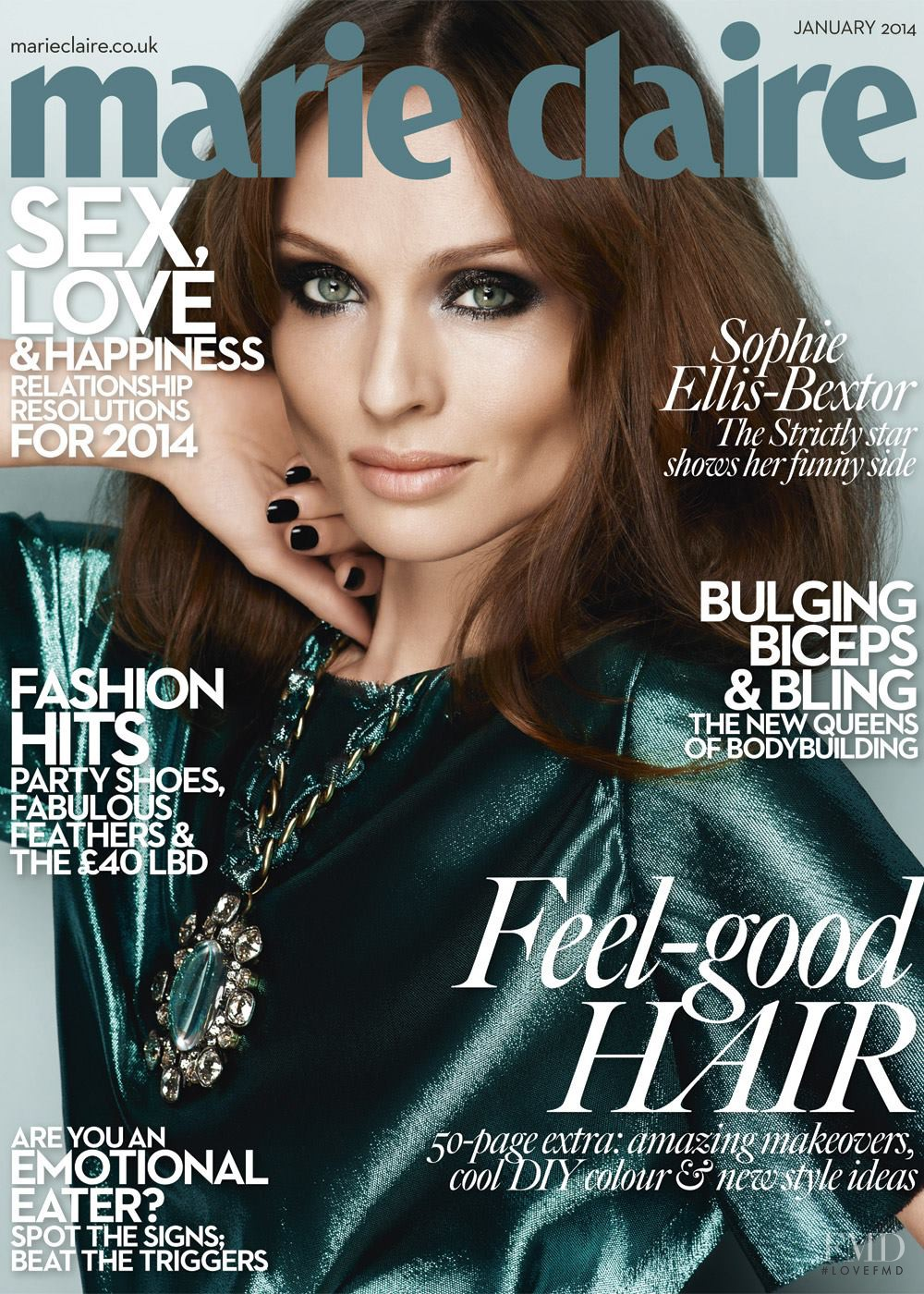 Cover Of Marie Claire UK With Sophie Ellis-Bextor, January