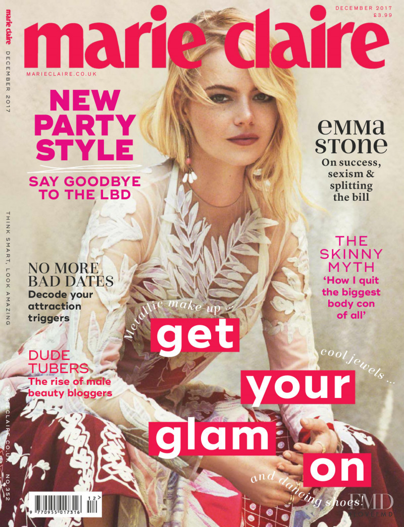 Emma Stone featured on the Marie Claire UK cover from December 2017