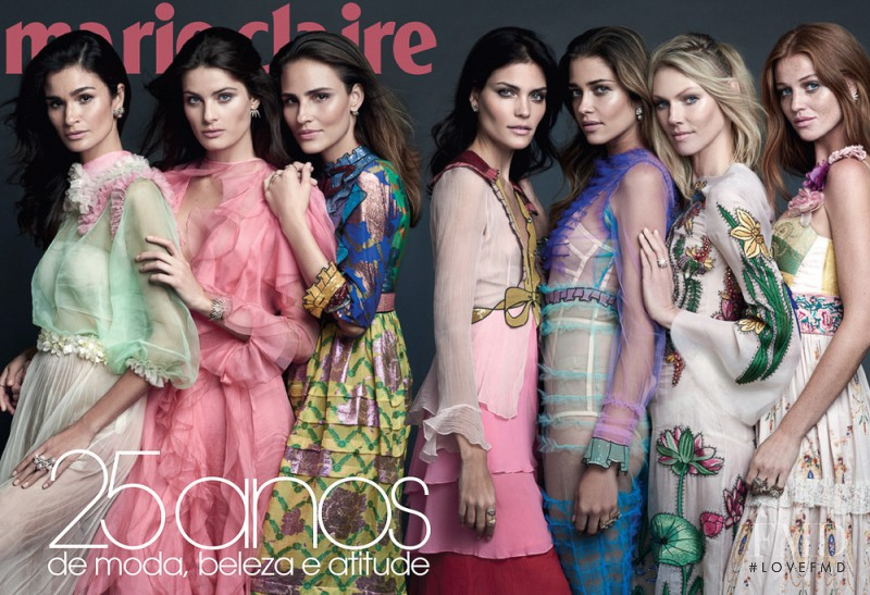 Isabeli Fontana, Ana Beatriz Barros, Shirley Mallmann, Caroline Ribeiro, Luciana Curtis, Cintia Dicker featured on the Marie Claire Brazil cover from April 2016