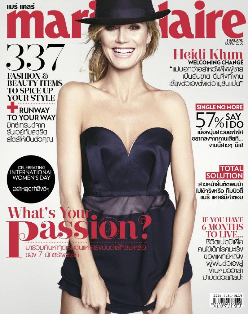 Heidi Klum featured on the Marie Claire Thailand cover from March 2013