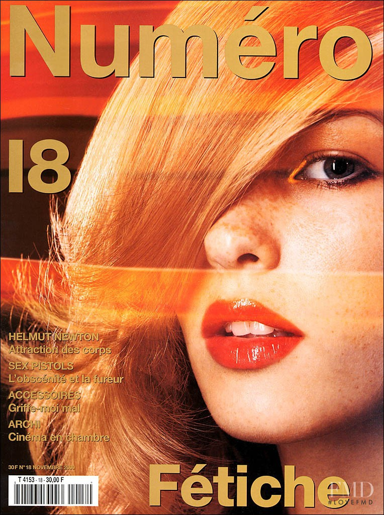 Amy Lemons featured on the Numéro France cover from November 2000