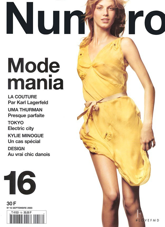 Angela Lindvall featured on the Numéro France cover from September 2000