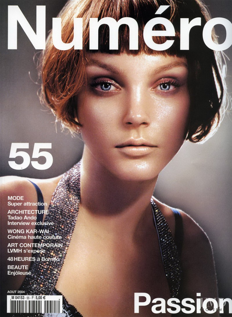 Jessica Stam featured on the Numéro France cover from August 2004