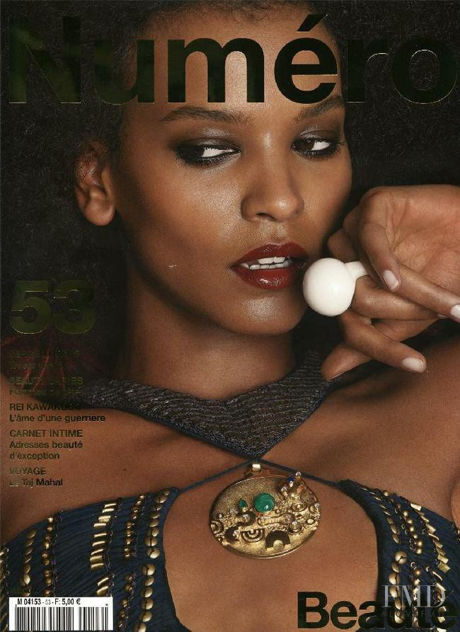 Liya Kebede featured on the Numéro France cover from May 2004