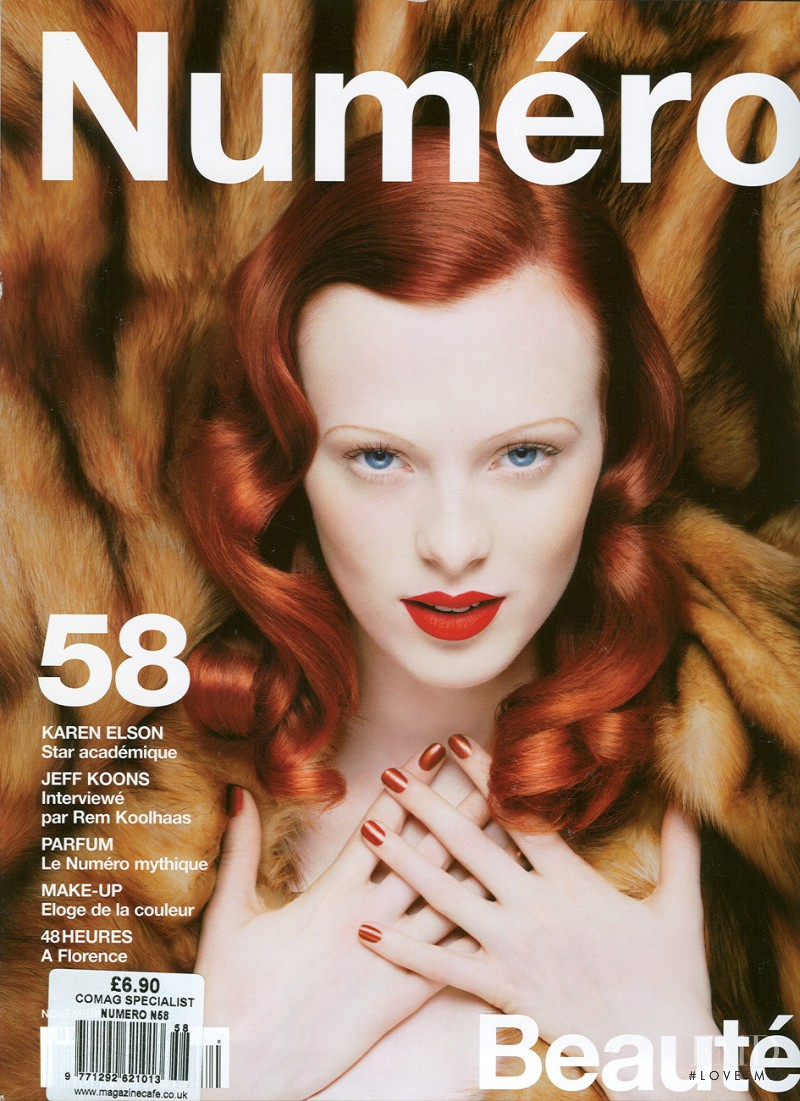 Karen Elson featured on the Numéro France cover from November 2004