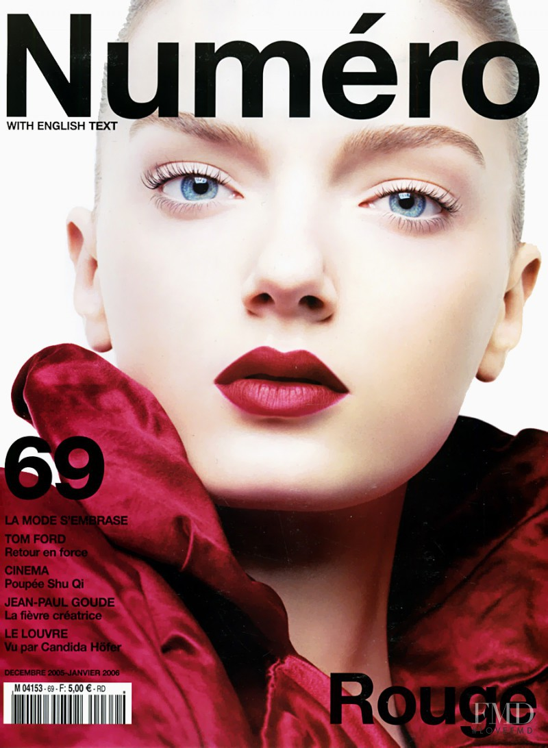 Lily Donaldson featured on the Numéro France cover from December 2005