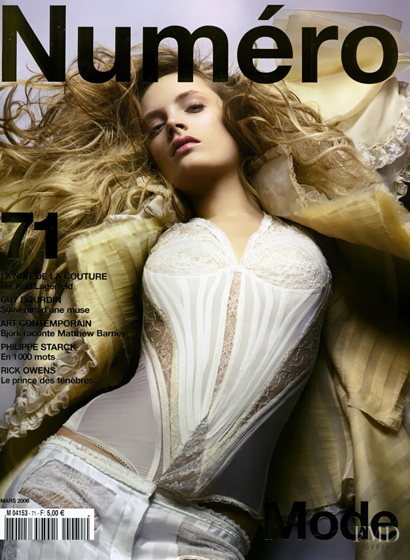 Leah de Wavrin featured on the Numéro France cover from March 2006